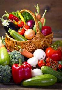 Fresh, organic vegetables in the basket
